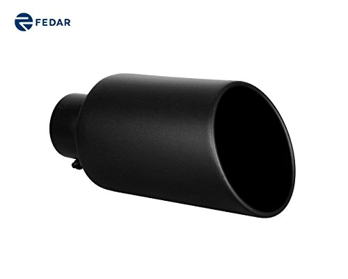 4 Rolled End Inlet - Fedar 4'' Inlet 7'' Outlet 15'' Long Rolled End Angle Cut Exhaust Tailpipe Tip
