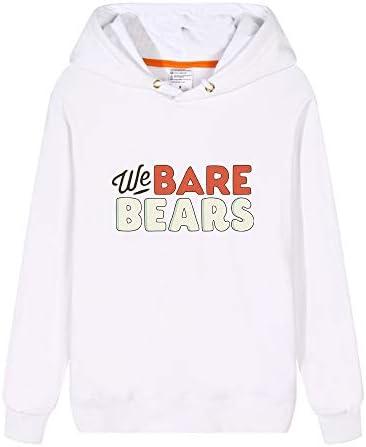 We Bare Bears Pullover Estilo de Dibujos Animados de Blanco Sudadera con Capucha Linda Deportes Impreso con Capucha Simple for Hombres y Mujeres Unisex