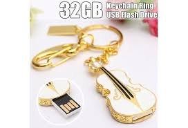 ANGELS-WS--Crystal Violin Keychain Key Ring 32GB 32G USB 2.0 Flash Memory Stick Storage Thumb Pen Drive (Size: (Chateau Wood Mirror)