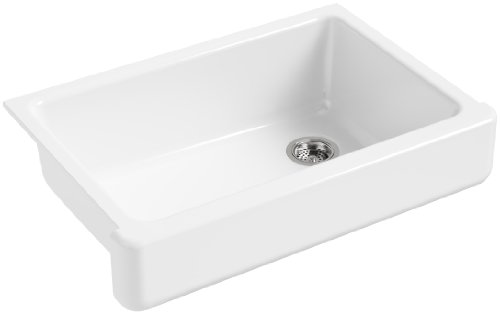 2in Depth Single Bowl Sink - KOHLER K-5826-0 Whitehaven Self-Trimming Under-Mount Single-Bowl Sink with Short Apron, White