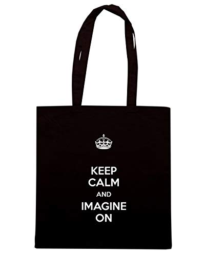 Borsa Shopper Nera TKC0437 KEEP CALM AND IMAGINE ON