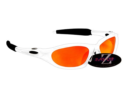 Rayzor professionnel léger UV400 Blanc Sport cricket Wrap Lunettes de soleil, avec une Rouge Iridium-reflet en miroir Lentille Anti