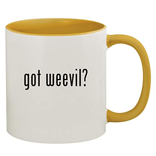 got weevil? - 11oz Ceramic Colored Inside & Handle Coffee Mug, Golden Yellow