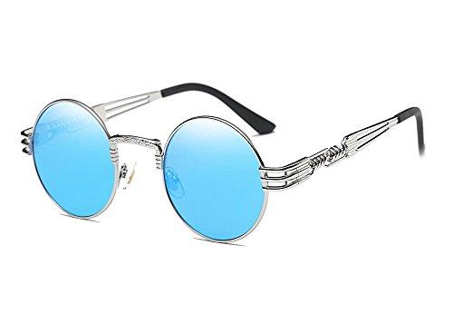 Larvin Torria John Lennon Steampunk Style Round Teashade Sunglasses - Blue Glasses Elton John
