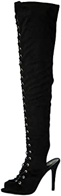 Breckelles Womens Randi-23 Faux Suede Lace Up Back Thigh High Boots
