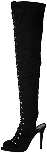 Breckelle's Womens Randi-23 Faux Suede Lace Up Back Cut Out Thigh High Boot,Black,8