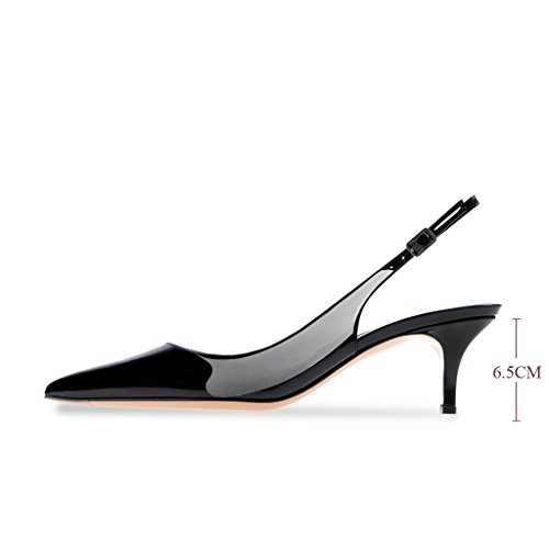 Modemoven Women's Black Patent Leather Pointed Toe Slingback Ankle Strap Kitten Heels Pumps Evening Stiletto Shoes - 7 M US by Modemoven (Image #5)