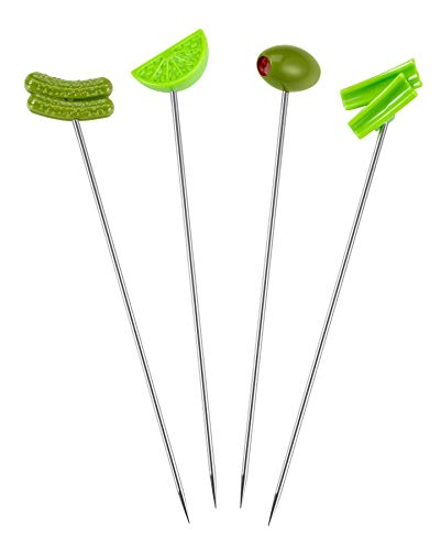 Prodyne BL-4 Bloody Mary Cocktail Skewer, Set of 4, Green
