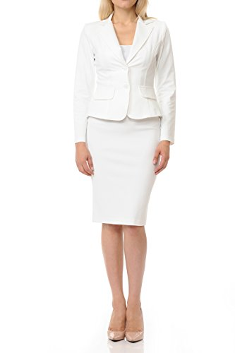 Sweethabit Womens Wear to Work Solid Skirt Suit Set (Medium, 3108-3087B_White) ()