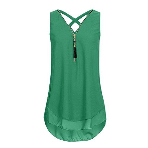 NREALY Chiffon Women Loose Sleeveless Tank Top Cross Back Hem Layed Zipper V-Neck T Shirts Tops (XL, Army ()