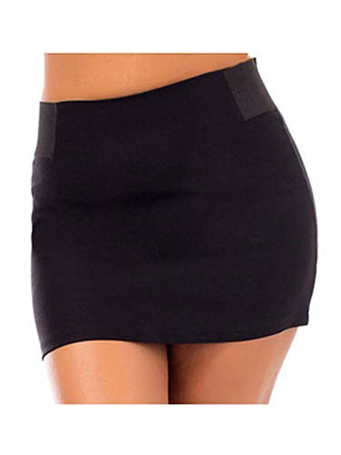 990 - Plus Size Sexy Stretchy Waist Back Zipper Short Mini Skirt/Shorts (1X, Skirt) ()