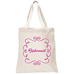 Bridesmaid Natural Bridal Pink Printed Wedding Favour Tote Bags brides hen party gift bags