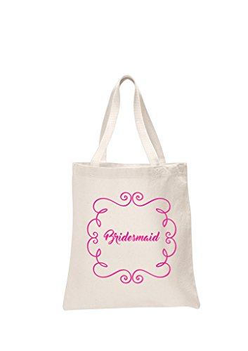 2 x Bridesmaid Natural Bridal Printed Wedding Favour Tote Bags bride hen party gift sets