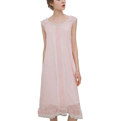 Lu's Chic Women's Petite Long Vintage Nightgown Victorian Lace Sleeveless Soft Pajama Dress Pink US XL ()