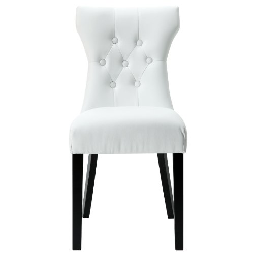 Modway Silhouette Tufted Faux Leather Parsons Dining Side Chair in White (Chair Tufted Vanity)