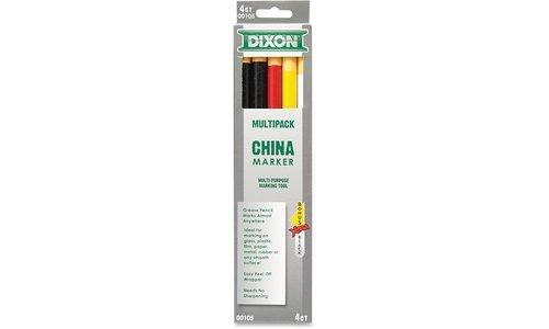 Dixon Phano China Marker, Black/Red/White/Yellow, Bonus Black (00105) -