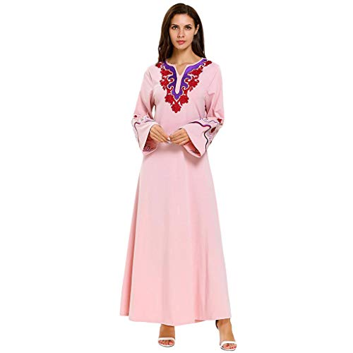HYIRI Muslim Women's Long Maxi Dress Robe Embroidery Abaya Islamic Dubai Kaftan Ramadan Pink -