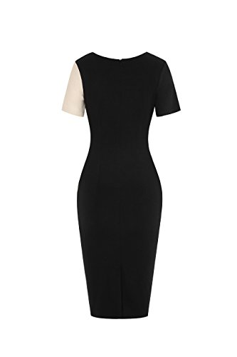 Pencil Cocktail Illusion Work Dress Short Apricot Optical Black Women Sleeve Colorblock REMASIKO TxqCfwf