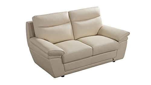 American Eagle Furniture EK092-CRM-LS Irvine Mid-Century Modern Italian Leather Living Room Loveseat, 71