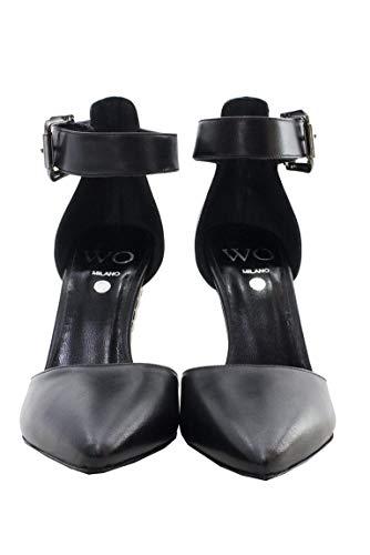 Con Cono Caviglia In A Meta Forma Fibbia E Laterale Cinturino Punta Pelle Alla Di Scarpe Donna Tacco Nero Invernali Da Alto x0wXqtvUF