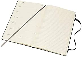 Moleskine - Agenda Semanal de 12 Meses 2020, Tapa Dura y Goma Elástica, Color Negro, Tamaño Grande 13 x 21 cm, 144 Páginas