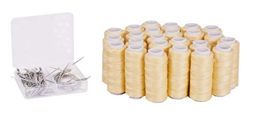 Mandala Crafts Weaving Thread and Needle Set for Hair, Wigs, Hair Extensions, Weft Sewing (24 Rolls 70 Needles, Gold Blonde)