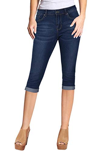 2LUV Women's Stretchy 5 Pocket Skinny Capri Jeans Medium Denim 15