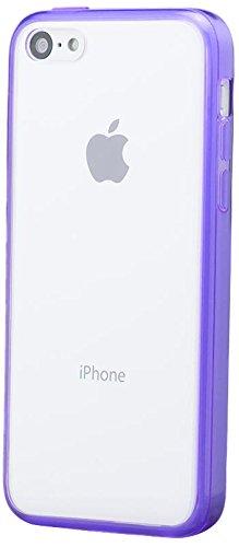 Apple iPhone 5C | Pare-chocs iCues Clear Case Violet back | [Protecteur d'écran, y compris] la lumière supplémentaire très mince protecteur de feuille transparente Temps clair de gel de silicone Houss