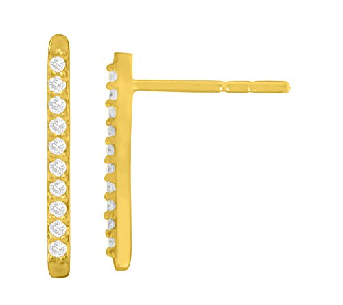 Libertini Boucle d'oreille argent 925 plaque or Jaune serti de Diamant en forme de Bâton