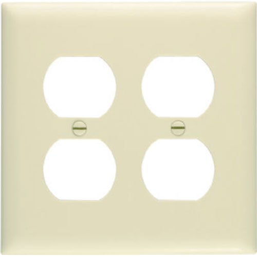 Legrand - Pass & Seymour SP82IUCC30 Smooth Wall Plate Two Gang Duplex Easy Install, Ivory