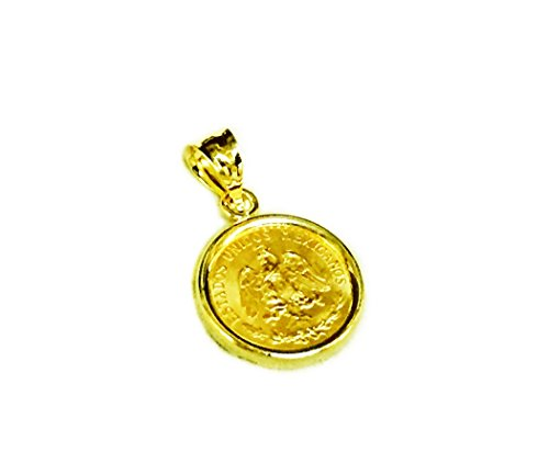 14K Yellow Gold 14MM COIN PENDANT with a 22K MEXICAN DOS PESOS Coin-Random Year ()