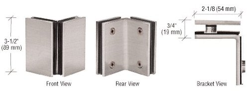 C.R. LAURENCE GE090BN CRL Brushed Nickel Geneva Series Glass-to-Glass Bracket