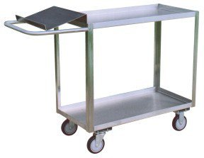 Jamco Products XO348-U5 Two Shelf Service Cart with Writing Stand with 5'' x 1-1/4'' Urethane Casters, Two Rigid, Two Swivel, 30'' x 48'', Stainless Steel by Jamco Products