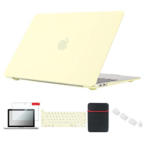 Se7enline MacBook Pro 2020 13 inch Case Plastic Hard Shell Laptop Cover for MacBook Pro 13-inch Model A2338/A2251/A2289 Touch Bar with Sleeve, Keyboard Cover, Screen Protector, Dust Plug,Mellow Yellow