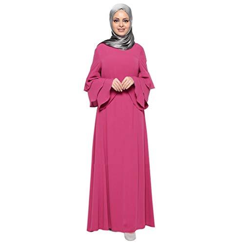 Women Arabian Traditional Muslim Loose Dress Solid Color