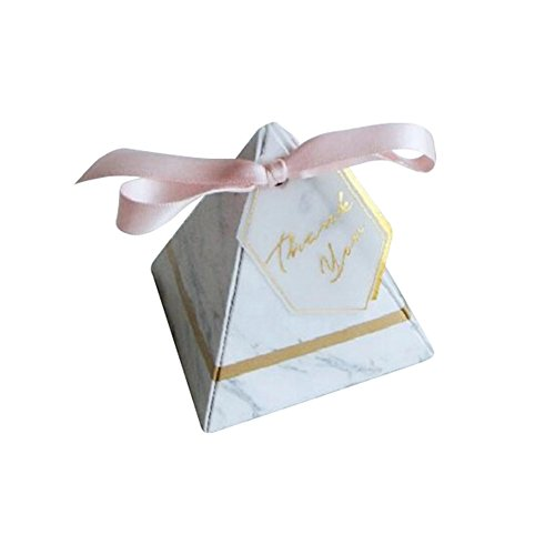 MOIAK 100 PCS Wedding Favors Candy Box with Thank You Card and Pink Ribbon, Triangular Pyramid Europe Style Party Supplies Paper Gift Boxes(Small)