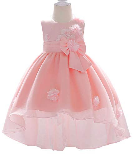 Toddler Baby Girls High-Low Flower Applique Christing Pageant Birthday Party Baptismal -
