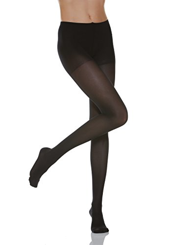15-20 mmHg Compression Support Pantyhose. Italian Made (Size 4 Black)