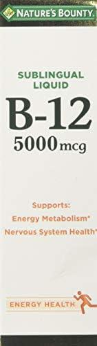 Nature s Bounty B-12 5000 mcg Sublingual Liquid Energy Health 2 oz Pack of 5