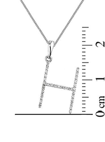 "Or blanc 18ct. Diamant Chaîne et Pendentif initiale ""H Or Blanc 18carats, collier: 40,6cm/40cm -- 45,7cm/45cm -- 50,8cm/50cm"