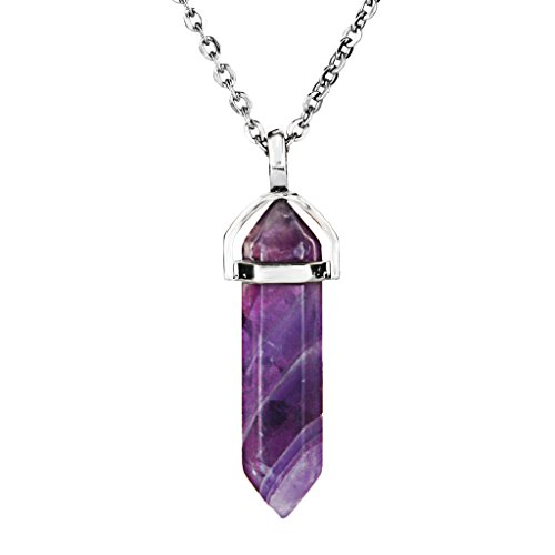Aprilsky Natural Amethyst Quartz Hexagonal Prism Healing Point Chakra Cut Crystal Gemstone Pendant Necklace with 18