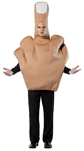 UHC Men's The Finger Tunic Funny Theme Party Outfit Halloween Fancy Costume, OS (42-46) - Halloween Costumes Men Funny