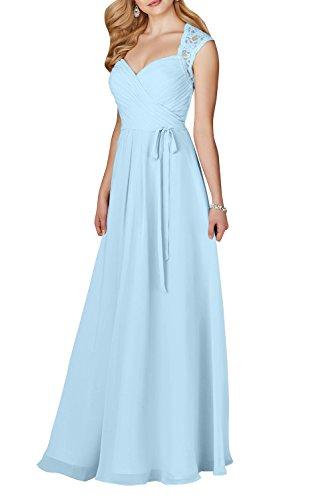 Kurzarm linie Abendkleider Damen Himmel Partykleider Spitze A Brautjungfernkleider Lang Charmant Blau Hochwertig qwSzt7zg