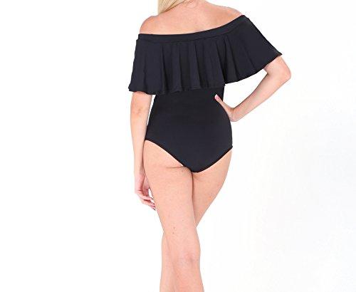 Une Siamois Acvip Femme Bateau Noir Nylon De Maillot Col Beachwear Bain Pièce pwxAq4Zx