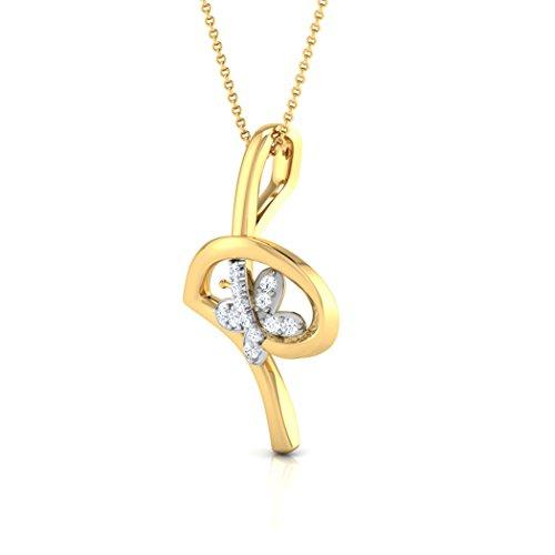 14K Or blanc 0,04CT TW Round-cut-diamond (IJ   SI) Pendentif