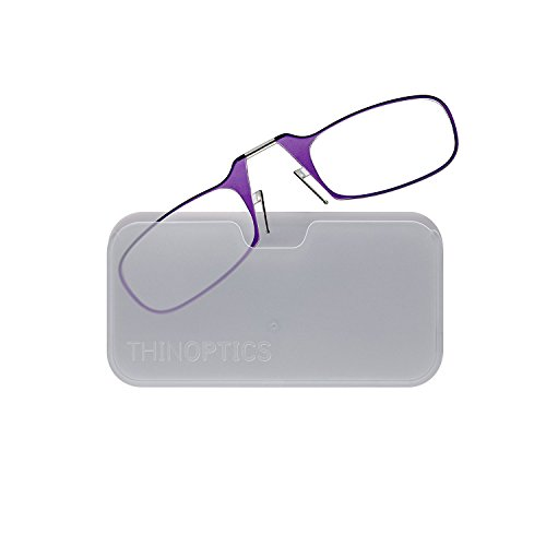 ThinOptics Reading Glasses + White Universal Pod Case | Classic Collection, Purple Frames, 2.00 Strength