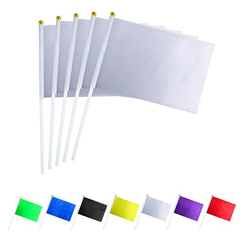 (GentleGirl.USA 50 Pack White Flag, Pure Solid Blank Small Mini Banner Banner Flags Stick, Party Color Decoration Parade Supplies, School, Sports Club, International Festival Celebration)