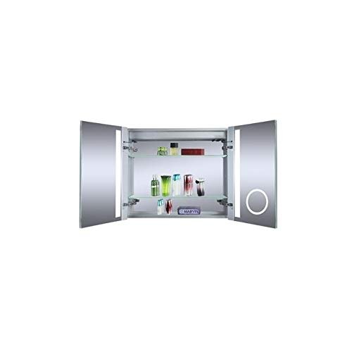 Innoci-USA Melania LED Recessed Double Door Lighted Medicine Cabinet For Vanity Featuring Built-In Cosmetic Mirror, 3-Prong 120v Electrical Outlet and Adjustable Tempered Glass Shelves 30
