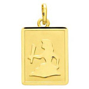 So Chic Bijoux © Pendentif Zodiaque Plaque Rectangulaire Signe Astrologique Vierge Or Jaune 750/000 (18 carats)