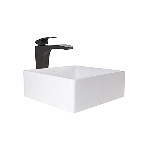 Bathroom Vessel Sink Stone Bowl (VIGO Bavaro Matte Stone Vessel Sink and Matte Black Blackstonian Faucet Set with Pop-up Drain in Matte White Finish)